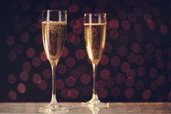 Two festive champagne glasses Royalty Free Stock Photo