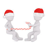 Two festive 3d men having a tug of war. Two festive 3d men wearing Christmas hats having a tug of war with a red and white striped candy cane, rendered Royalty Free Stock Image