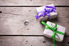 Two festive gift boxes with presents Royalty Free Stock Images