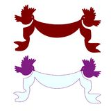 Two festive ribbons on the sides of a bird red and lilac empty. Silhouette on a white background, vector Stock Photos