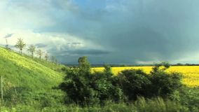 Two fields - yellow rape blooming and green coloured plants. Yellow field changes to Green field after border bridge has passed by stock footage