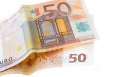 Two fifty Euro notes. The two fifty Euro notes Stock Photos