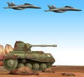 Two fight jets and military tank in battle field. Illustration Stock Image