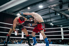 Two fighters MMA strike each other blows Stock Image