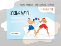 Two fighting boxers, boxing match. Vector illutration, design template of sport site,header, banner or poster. Two fighting boxers, boxing match. Vector Royalty Free Stock Images