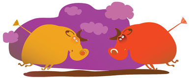 Two fighting bulls Royalty Free Stock Image