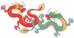 Two fighting dragons. Two chinese dragons fighting. Cartoon characters isolated on white background Royalty Free Stock Photos