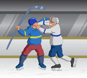 Two fighting ice hockey players Royalty Free Stock Image