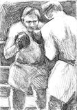 Two fighting Mexican boxers. Pencil drawing sketch Royalty Free Stock Photography