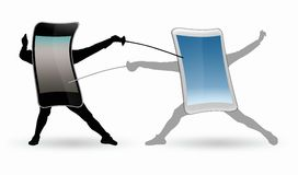 Two fighting stylised phone Stock Images