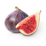 Two figs. Two fresh figs isolated over white background stock photography
