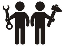 Free Two Figure With Tool, Wrench And Hammer, Black Silhouette, Vector Icon Stock Image - 110851851