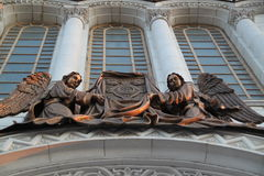 Two figures of angels on Cathedral of Christ the Saviour in Moscow Royalty Free Stock Photo