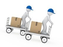 Two figures drive a trolley. Delivery figure drive a trolley fast down Royalty Free Stock Images