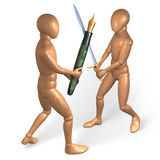 Two figures fighting each other with pen and sword Stock Images