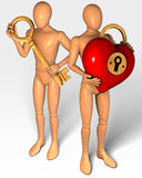 Two figures holding key and lock in shape of heart. Rendering, illustration Royalty Free Stock Photo
