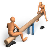 Two figures rocking on see-saw Stock Photo