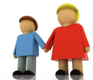 Two figures in romantic relationship holding hands. Two figures young man and women couple holding hands in romantic relationship in semi front view clip art Stock Photos