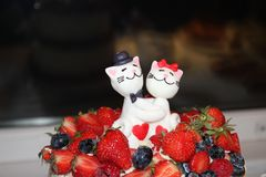 Two figures of sugar cats, royalty free stock image