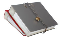 Two file folder with chain. And padlock closed Royalty Free Stock Image