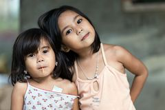 Two filipino sisters posing Royalty Free Stock Image