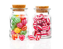 Two Filled Glass Candy Jars Stock Images