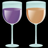 Two filled wine glasses Royalty Free Stock Images