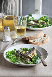 Two fillets of grilled mackerel fish on a plate with watercress salad and a glass of wine Royalty Free Stock Photography