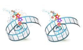 Two film frames. With colored stars on white royalty free illustration