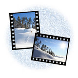 Two film frames. On a white background with a snow Stock Photos