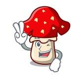 Two Finger Amanita Mushroom Character Cartoon Royalty Free Stock Photography