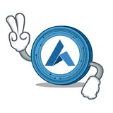 Two finger Ardor coin character cartoon. Vector illustration Royalty Free Stock Photo