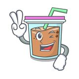 Two finger bubble tea character cartoon. Vector illustration Royalty Free Stock Photography