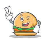 Two finger burger character fast food. Vector illustration Royalty Free Stock Photos