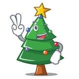 Two finger Christmas tree character cartoon. Vector illustration royalty free illustration