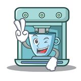 Two finger coffee maker character cartoon. Vector illustration Stock Photo