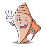 Two finger cute shell character cartoon Stock Photo