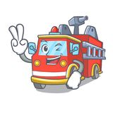 Two finger fire truck character cartoon. Vector illustration Stock Photos