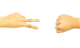 Two finger with fist hand. On white background Royalty Free Stock Photography