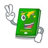 Two finger green passport in the cartoon shape. Vector illustration royalty free illustration