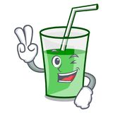 Two finger green smoothie character cartoon. Vector illustration royalty free illustration