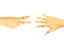 Two finger hand and open hand. Of the opposite side on whtie background Stock Photos
