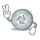 Two finger IOTA coin character cartoon. Vector illustration Stock Image