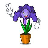 Two finger iris flower character cartoon. Vector illustration Stock Images