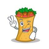 Two finger kebab wrap character cartoon. Vector illustration stock illustration