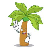 Two finger palm tree character cartoon. Vector illustration Stock Photo