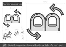 Two finger pivot rotate line icon. Stock Image