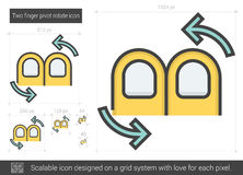 Two finger pivot rotate line icon. Stock Photos
