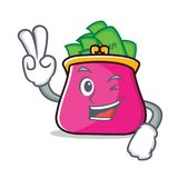 Two finger purse character cartoon style. Vector illustration Stock Photo