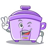 Two finger rice cooker character cartoon Stock Photo